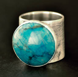 Statement Turquoise Dyed Howlite Ring in Sterling by Abish-Essentials