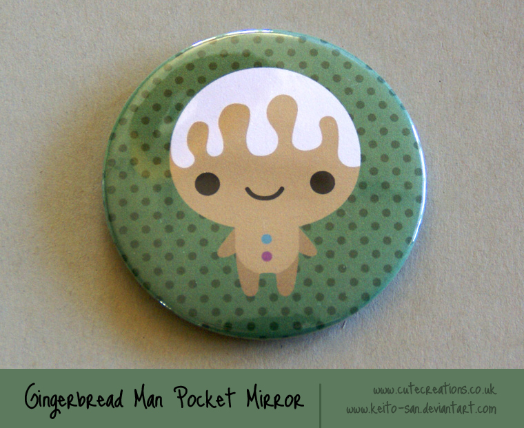 Gingerbread Man Pocket Mirror by Keito-San