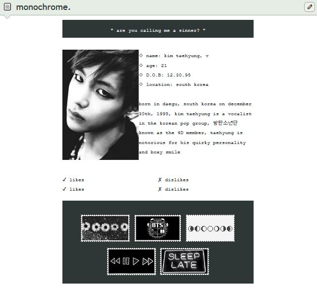 monochrome | f2u custom box code by baekmii