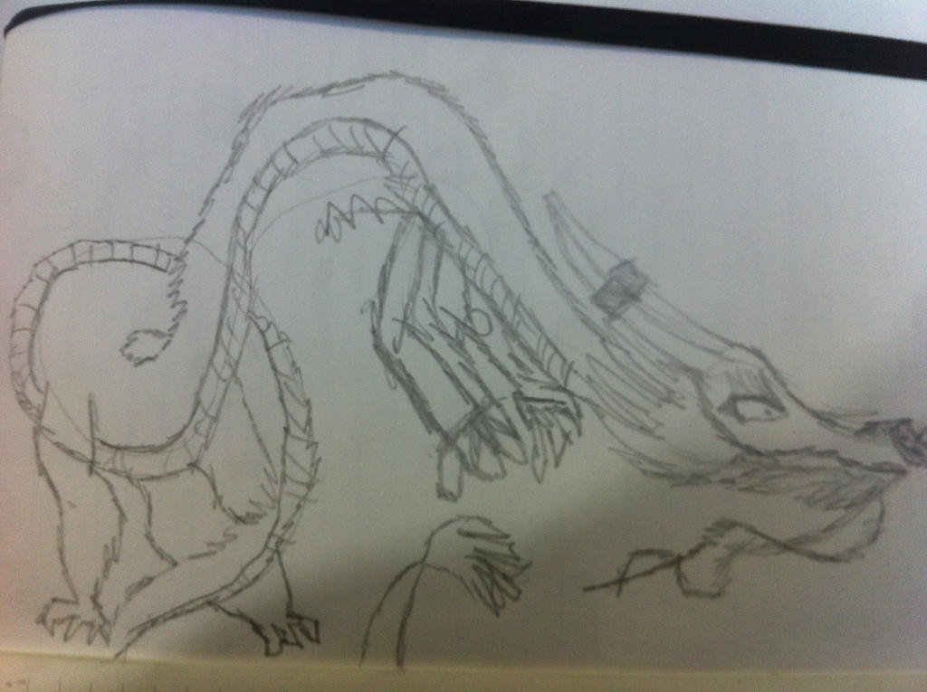 Chinese Dragon OC initial sketch called Longwei by NyinxDeLune