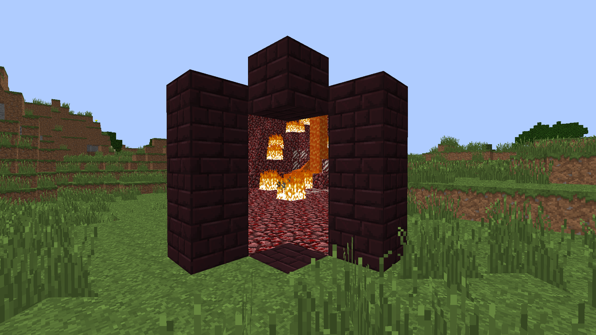 how to set a block to nether portal minecraft