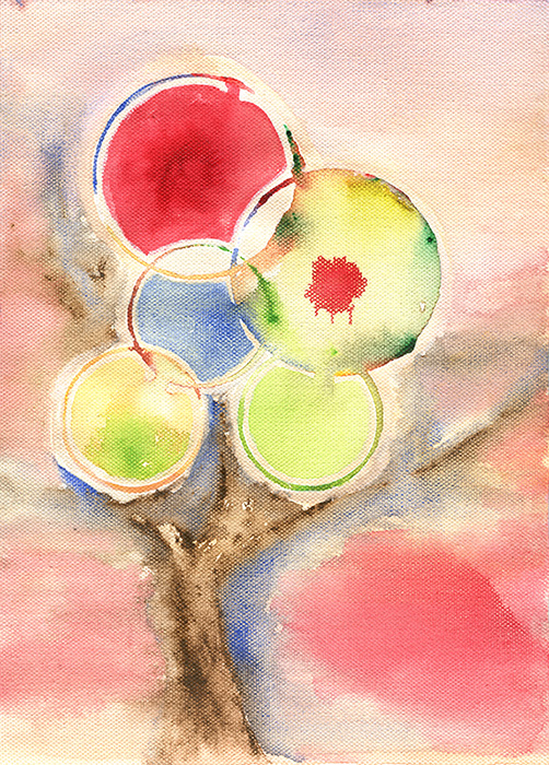 Abstract Tree Watercolor by Crabu