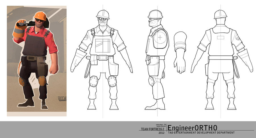 TF2 Engineer Orthographic drawings by gntlemanartist