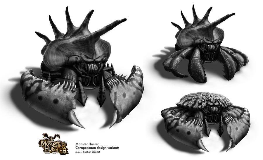 Monster Hunter Crab Design options by gntlemanartist