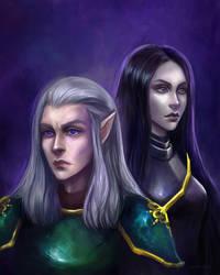 Dark elf and Vampiress by Evivan