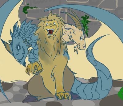 Blue Dragon Chimera by HellHoundKeeper