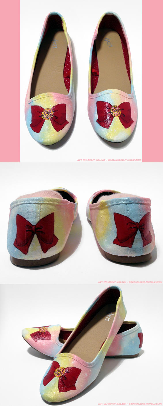 Sailor Moon Custom Flats (Size 7) (SOLD!) by GinnyMilling