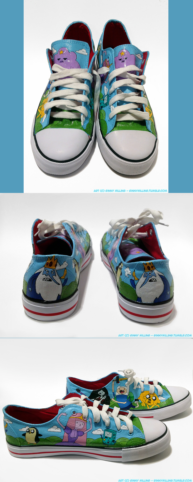 Adventure Time Custom Shoes (Size 9) (SOLD!) by GinnyMilling
