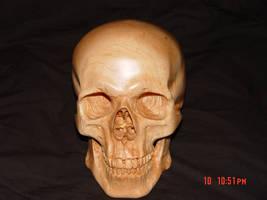 Carved skull in Rock Maple by WaterwalkerWoodworks