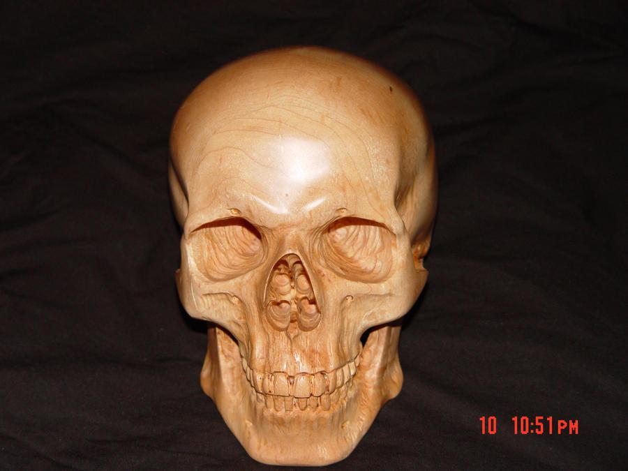 Carved skull in rock maple by waterwalkerwoodworks on