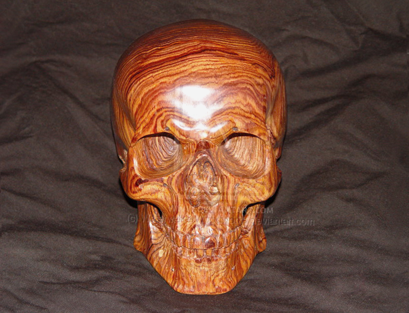 Carved wood skull in cocobolo by waterwalkerwoodworks on
