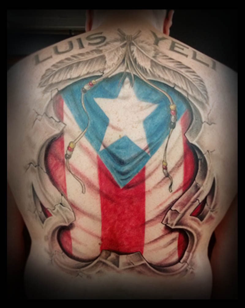 Puerto rico flag tattoo by adrianjf on deviantart for Puerto rican tattoo