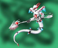 Serpent mech-like creature by Kitsune-Knight