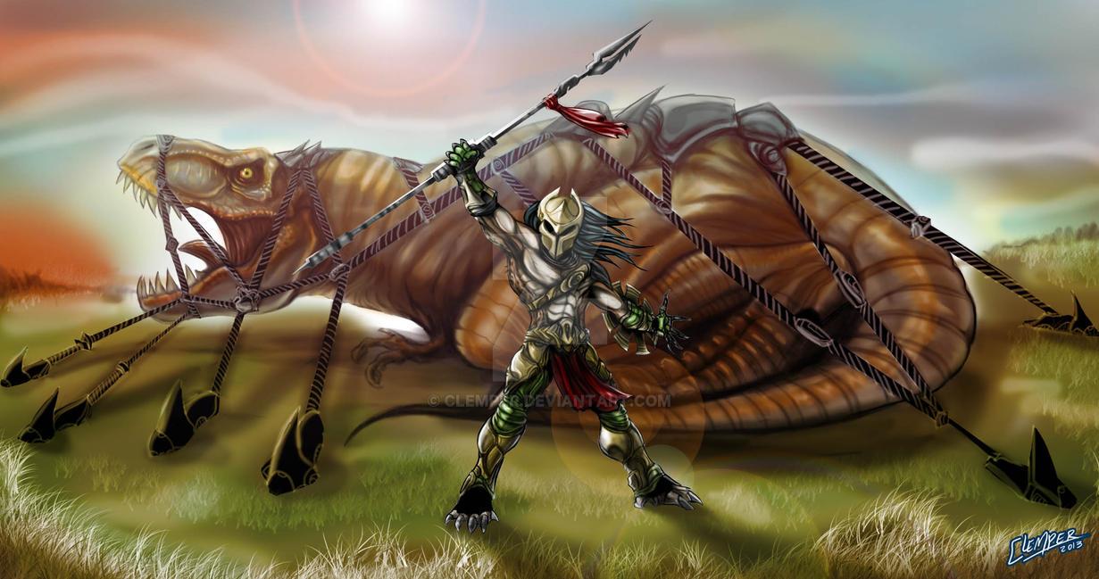 predator spartan capture tyrannosaurus rex by clemper