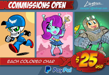Commission open - color character 25$ by clemper