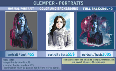 Portraits prices by clemper
