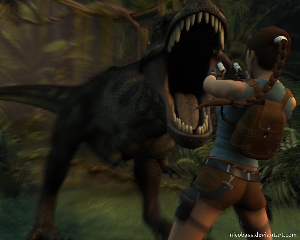 Lara Croft vs T-Rex by Nicobass