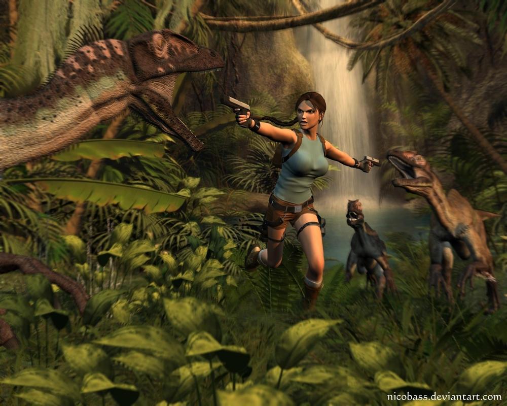 how to defeat t rex in lara croft relic run