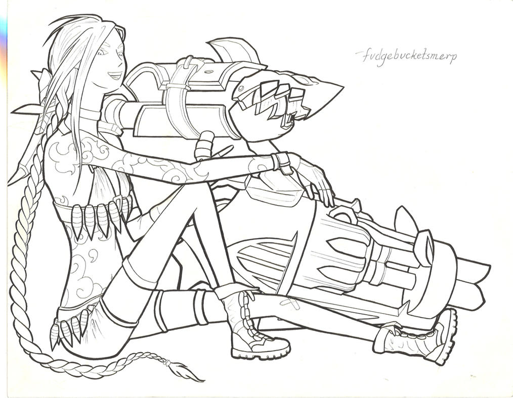 League of legends jinx lineart by fudgebucketsmerp on for League of legends coloring pages