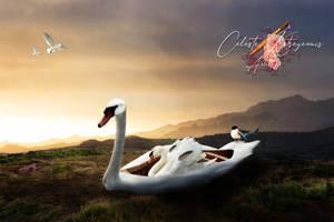 Beautiful Swan Boat by CleopatraArtStudio