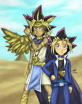 Pharaoh Atemu and Little Yugi