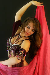 Purple and pink belly dancer
