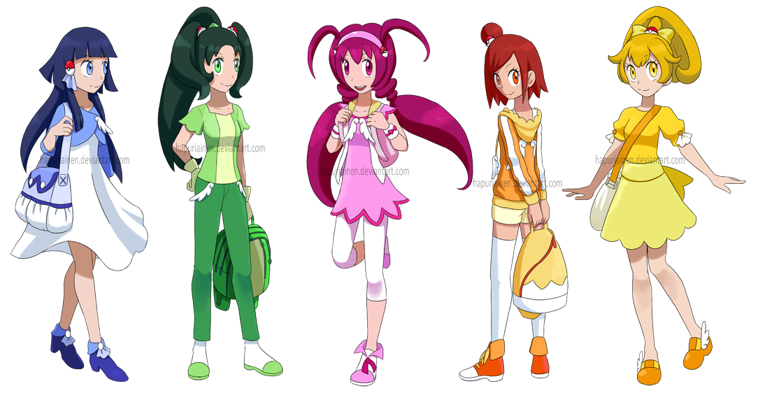 Smile! Precure as Pokemon trainers by Hapuriainen on