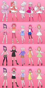 Dazzling Pink Precure outfits
