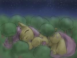 Fluttershy under the stars by AlloyRabbit