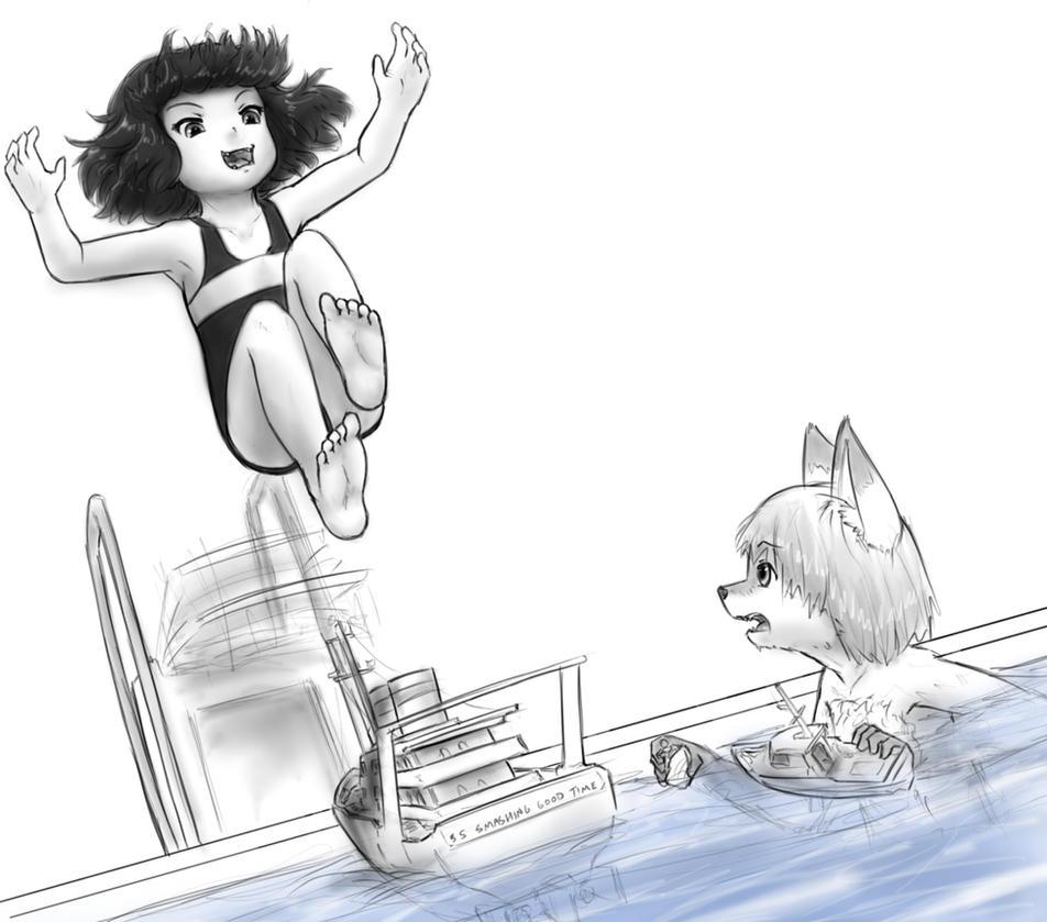Rem makes a splash by AlloyRabbit