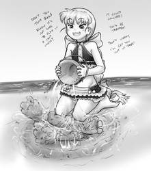 Matilda plays with a sand castle by AlloyRabbit