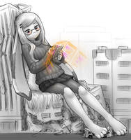 a bun on her phone by AlloyRabbit