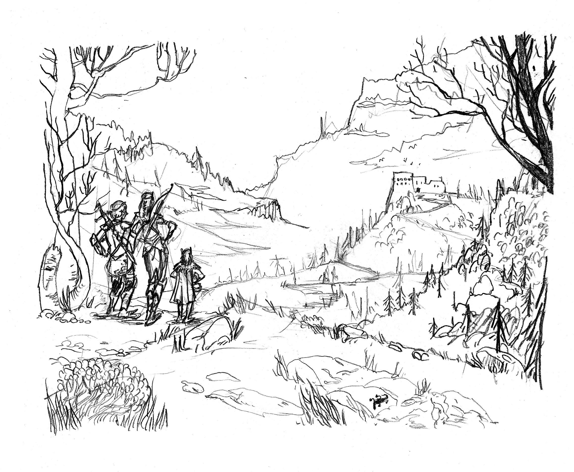 Line Drawing Landscape Artists : Pencil for quot fantasy landscape by emilie la vraie on