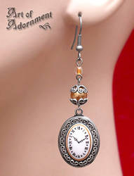 Patina Steampunk Clock Face Earrings by ArtOfAdornment
