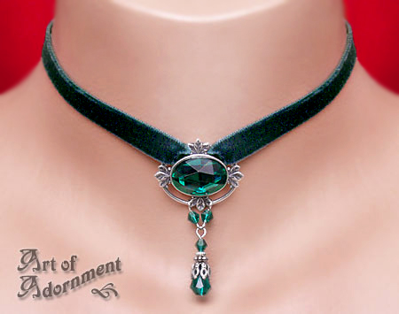 Absinthe Velvet Choker by ArtOfAdornment