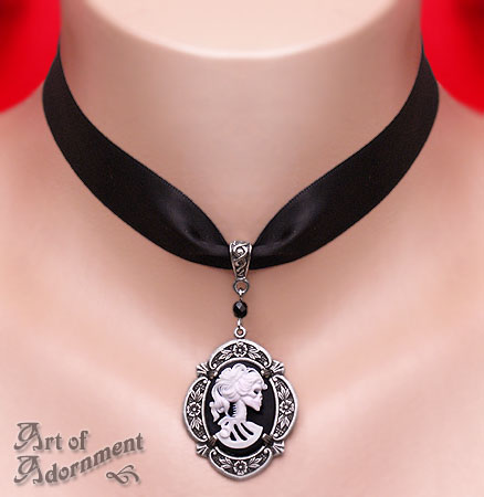Madame Muerte Cameo Satin Choker by ArtOfAdornment