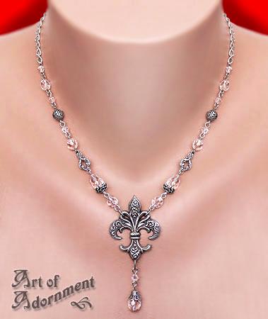 Crystal Fleur-de-Lis Necklace by ArtOfAdornment