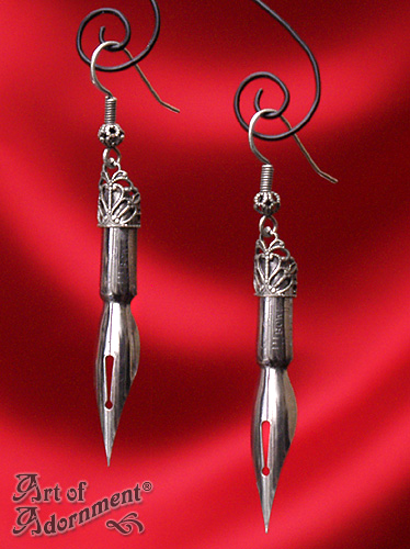 Argenta Steampunk Pen Nib Earrings by ArtOfAdornment