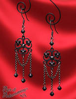 Nocturne Gothic Chain Chandelier Earrings by ArtOfAdornment