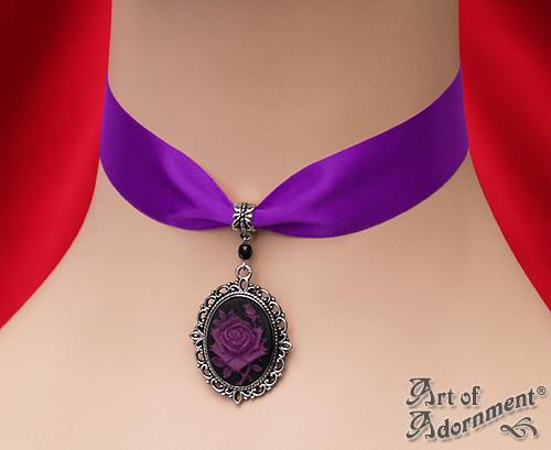 Gothic Rose Cameo Purple Satin Choker by ArtOfAdornment