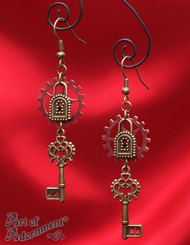 Patina Steampunk Lock and Key Earrings by ArtOfAdornment
