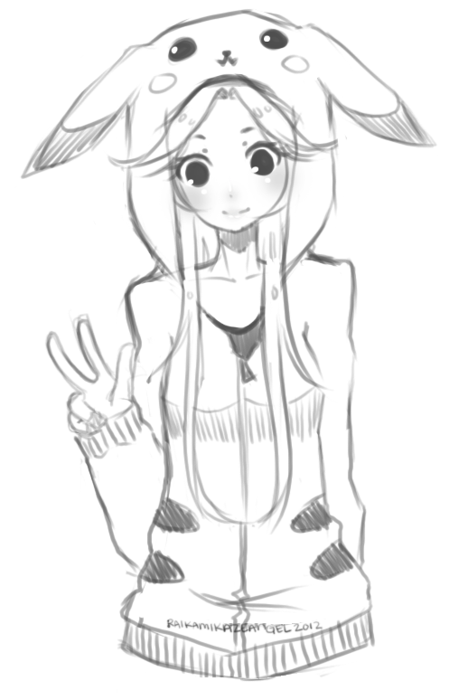Anime Girl With Pikachu Hoodie Drawing Sketch Coloring Page