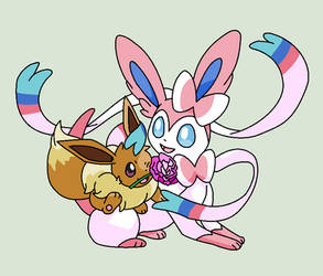 Sylveon and Eevee Base by ZwolfieLove