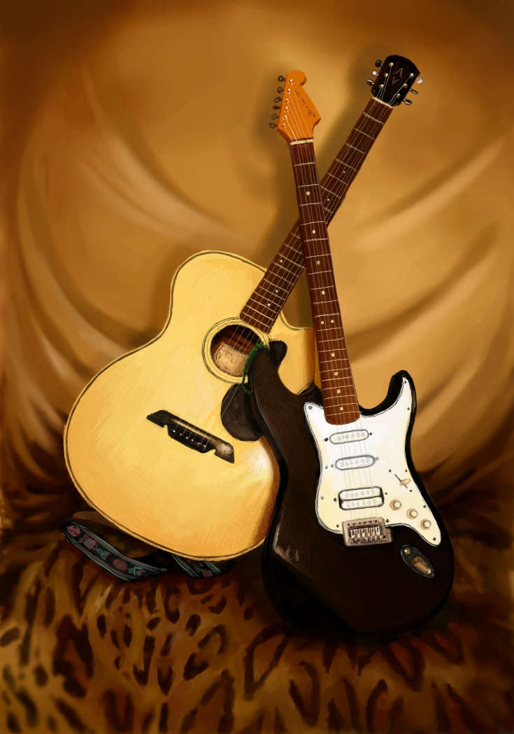 Guitar Still Life by Verenth