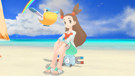 Pokemon Gold and Silver - Mikan at the Beach by 64smashmaster3ds
