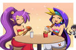 Commission: Shantae and Sky eating