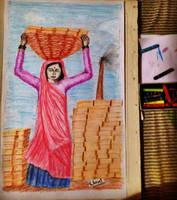 woman in a brickfield by unnibabu