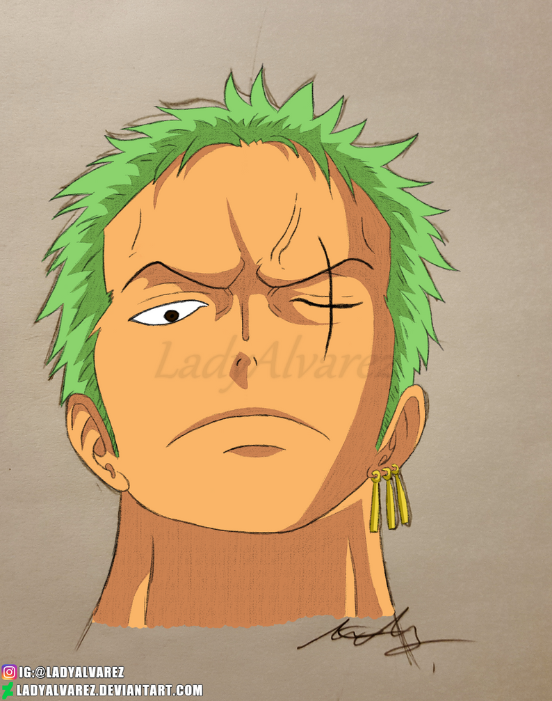 Roronoa Zoro (coloured) by LadyAlvarez
