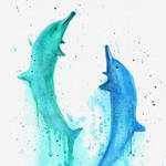 Dolphins Watercolor Painting