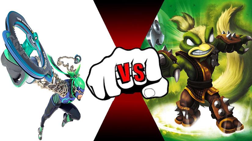 Ninjara (Arms) VS Stink Bomb (Skylanders) by rockeyrolley